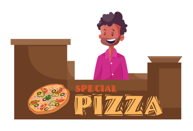 Pizza stall Illustration