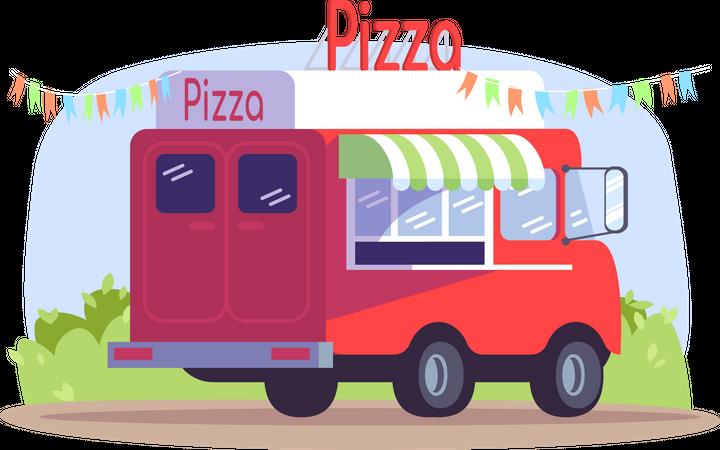Pizza truck Illustration