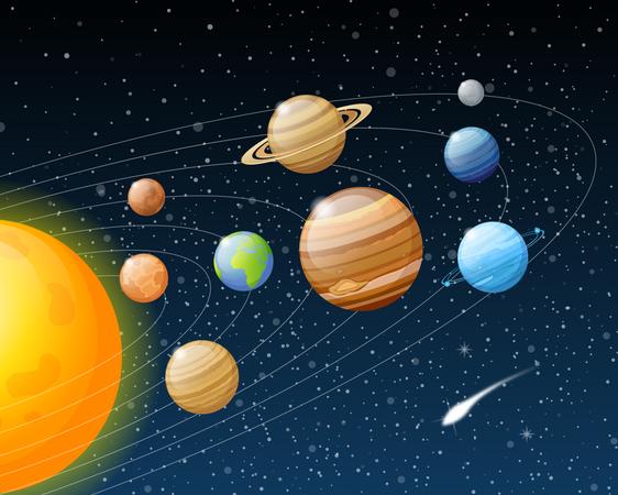 Planets Solar System Illustration