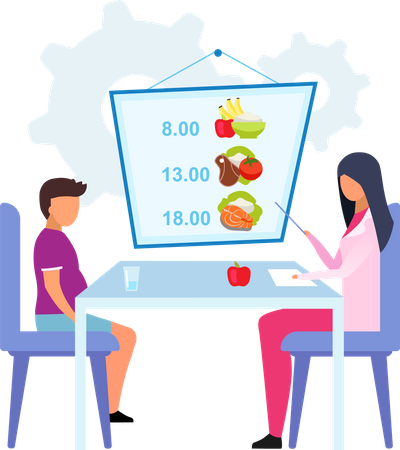 Planning meals for obese kid Illustration