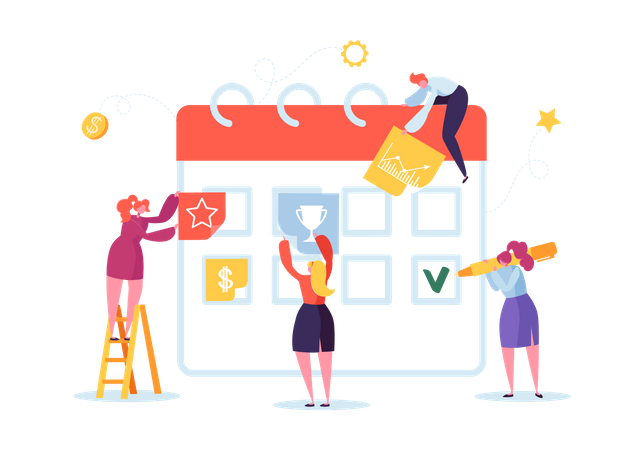 Planning Schedule Concept with Business Characters Illustration