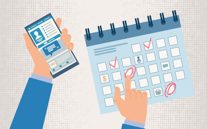 Planning Work Schedule, Time Management with Mobile Phone Application Illustration