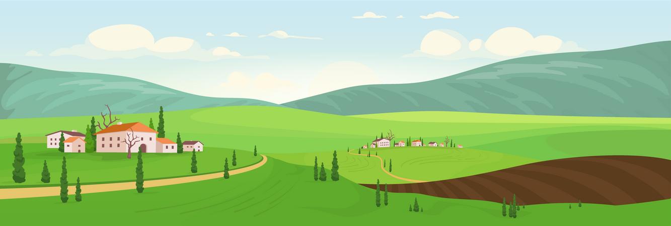 Planting Season In Hilltop Villages Illustration