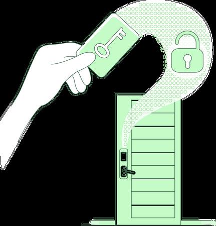 Plastic keycard and keyless lock Illustration