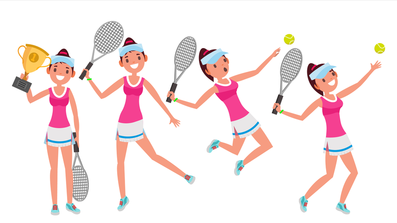 Players Practicing With Tennis Racket Illustration
