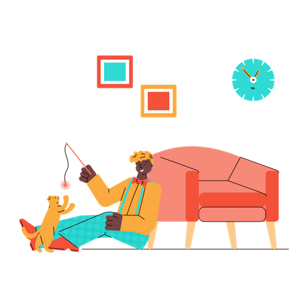 Playful kitten and its owner playing together at home Illustration