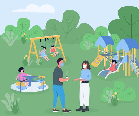 Playground during pandemic Illustration