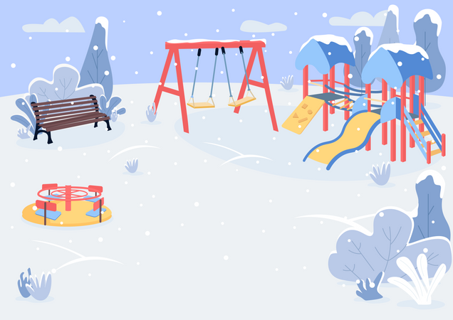 Playground in winter park Illustration