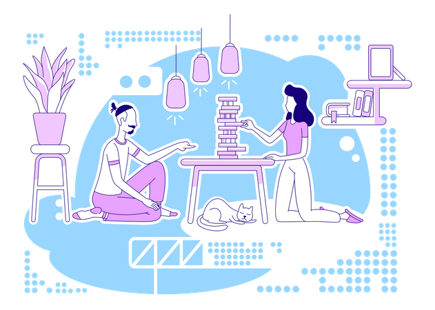 Playing board game Illustration