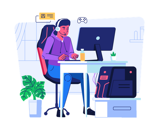 Playing games online Illustration