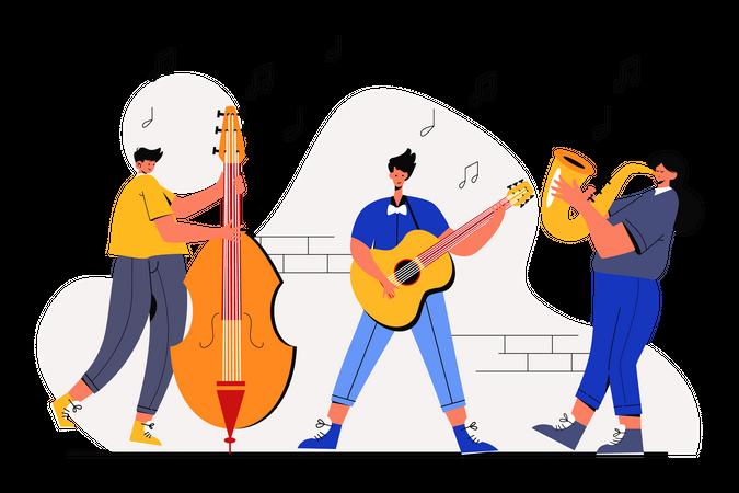 Playing music on Jazz Festival Illustration