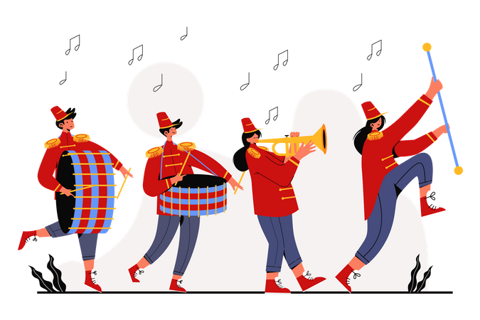 Playing music on Marching Band Illustration