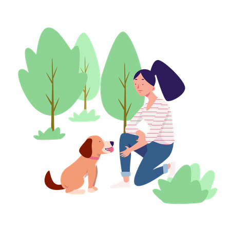 Playing With Pet Illustration