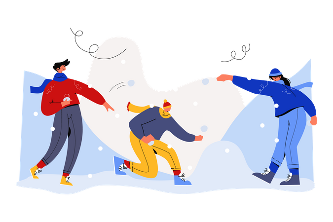 Playing with snow in winter Illustration