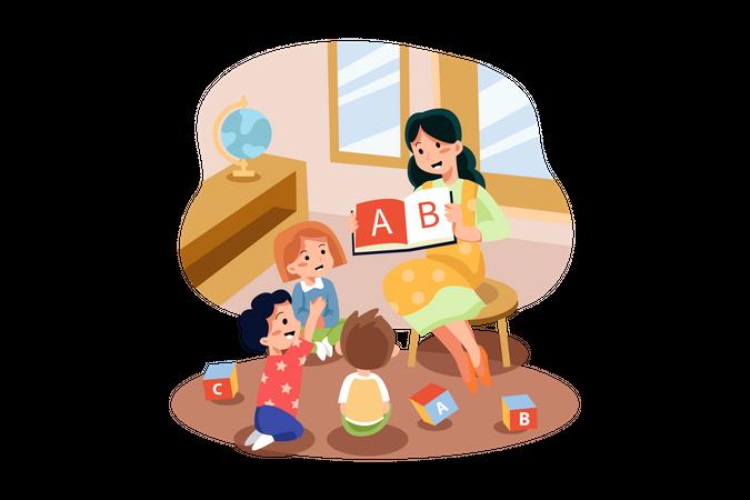 Playschool teacher teaching alphabets to kids Illustration
