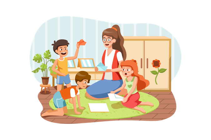 Playschool teacher teaching how to make paper boat to kids Illustration
