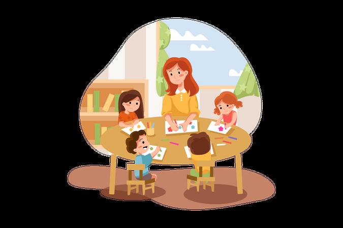 Playschool teacher teaching painting to kids Illustration