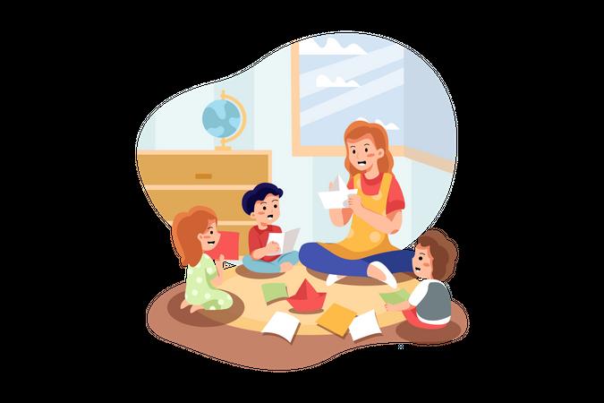 Playschool teacher teaching to children Illustration