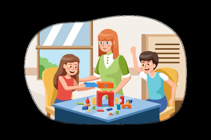 Playschool teacher teaching to kids Illustration
