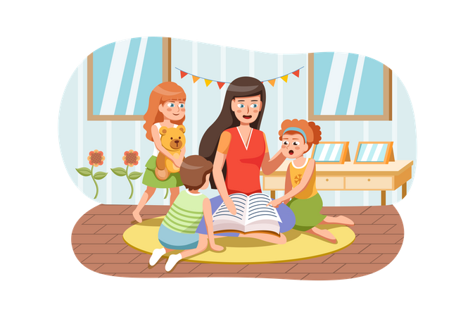 Playschool teacher telling stories from book to kids Illustration
