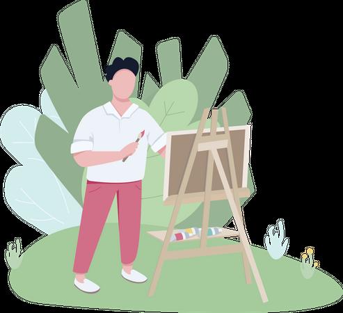 Plein air artist working in park Illustration