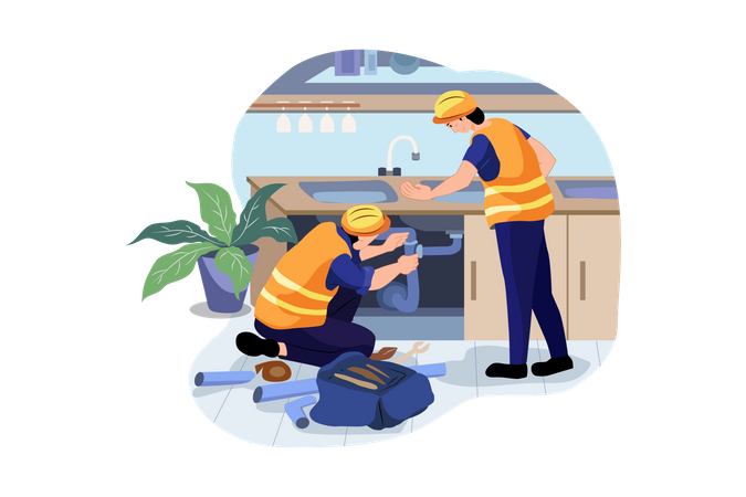 Plumber fixing drainage pipe at house sink Illustration