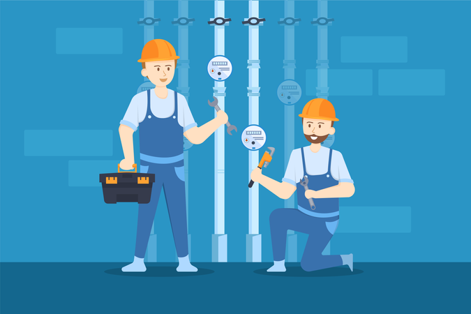 Plumbers are checking and fixing the pressure valves of the pipes Illustration