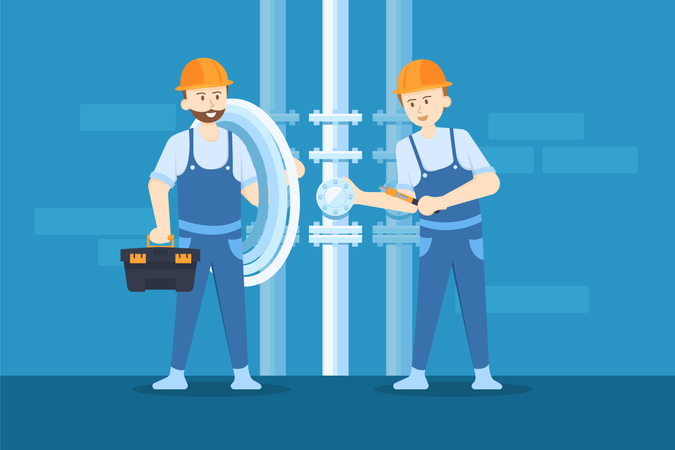 Plumbers are loosening the valve in order to replace the new pipe Illustration