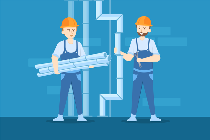 Plumbers are replacing the old steel pipes with new ones Illustration