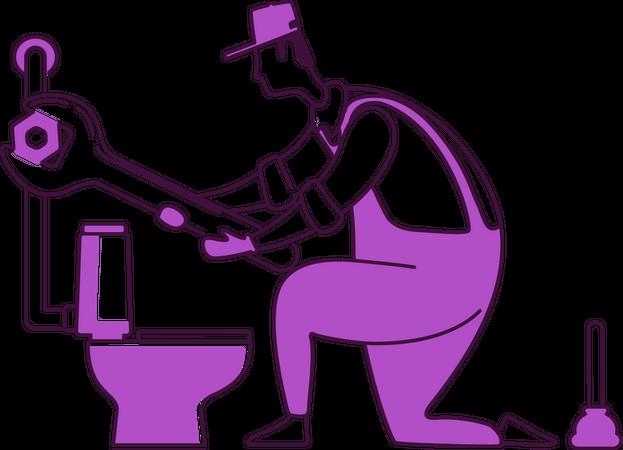 Plumbing repairing pipe Illustration