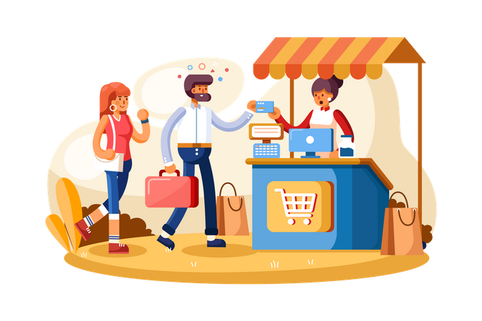 Point of sale payment system Illustration