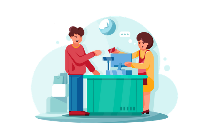 Point of sale payment system at groceries Illustration