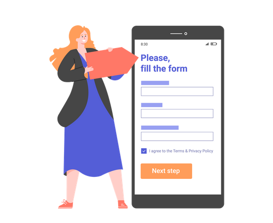 Points out the registration form in the mobile application Illustration