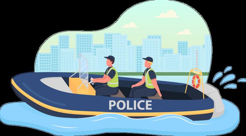Police boat patrol Illustration