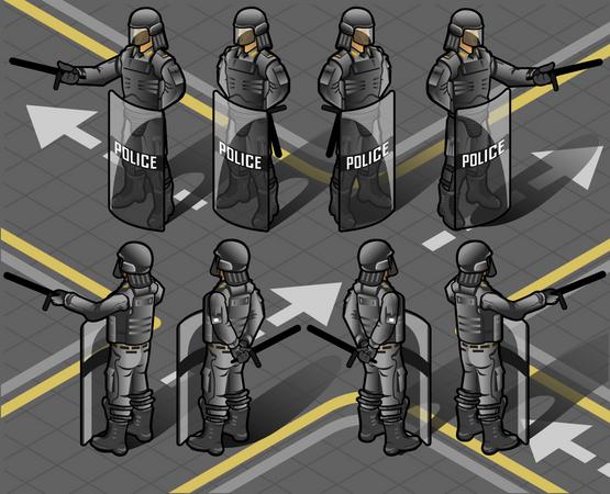 Police Force on High Alert Illustration