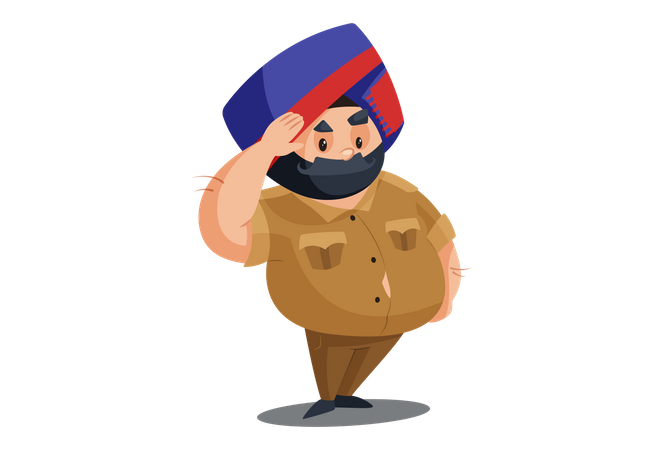 Police man is giving salute Illustration