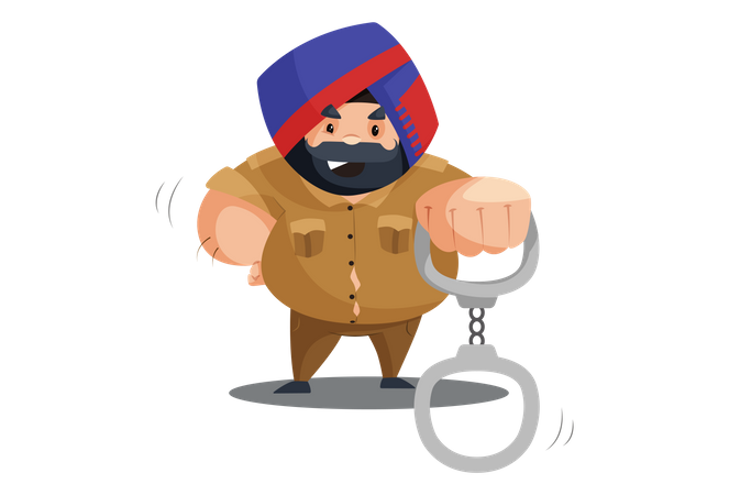 Police man is holding handcuffs in hand Illustration