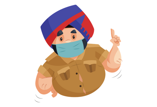 Police man is wearing surgical mask giving suggestion for wear mask Illustration