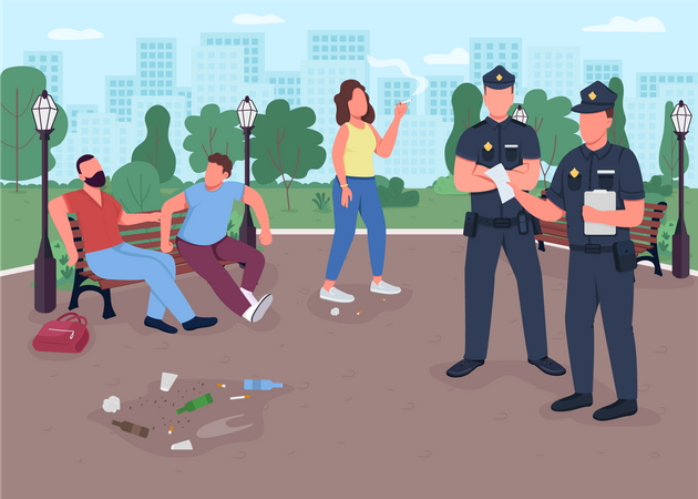 Police officers giving fines for throwing out trash Illustration