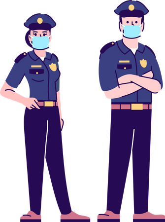 Police officers in covid19 pandemic Illustration
