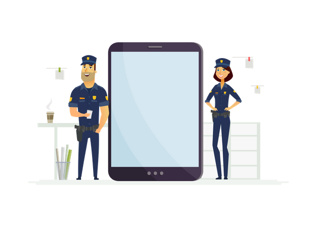Police officers on duty Illustration