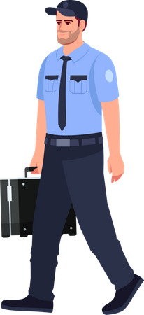 Policeman with briefcase Illustration