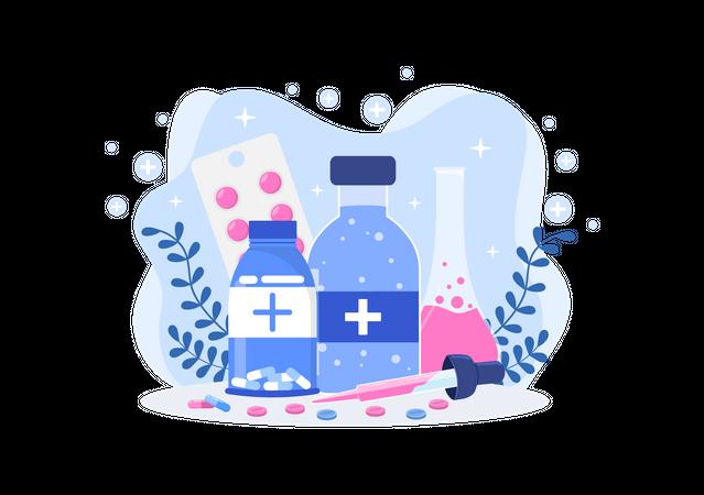 Polio medicine research Illustration