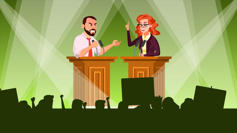 Political Meeting Vector Illustration