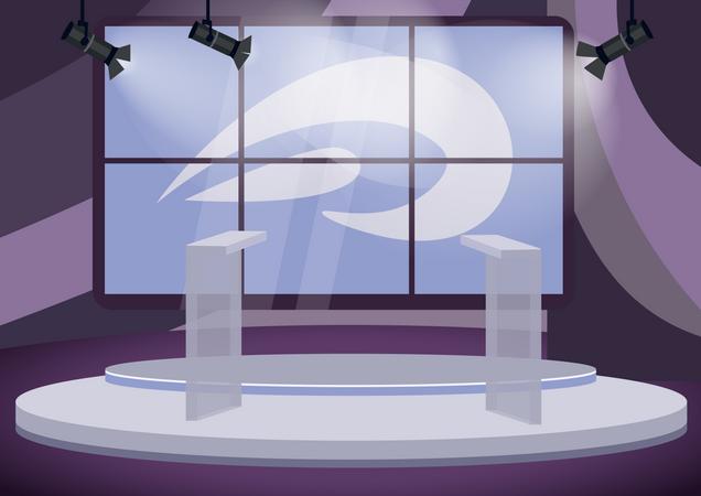 Political talk show studio Illustration
