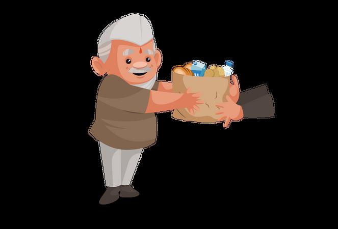 Politician distributing food to people Illustration