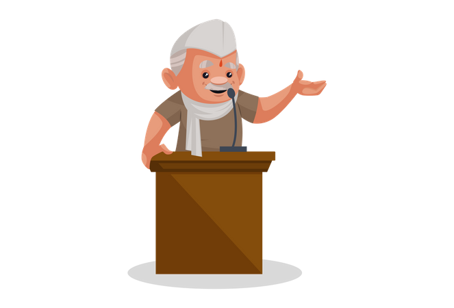 Politician giving a speech on stage Illustration