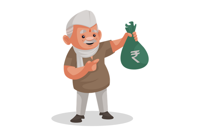 Politician holding a money bag in hand Illustration