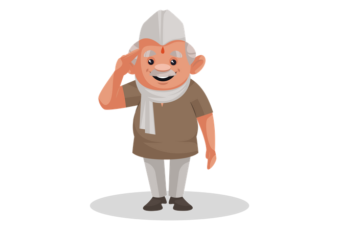 Politician is giving a salute Illustration