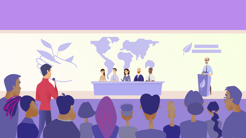 Politician panel giving interview Illustration